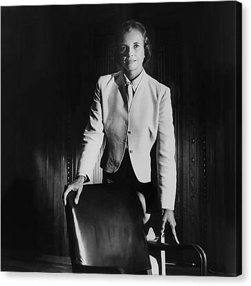 Sandra Day O'connor Posing Beside An Office Chair Canvas Print by Horst P. Horst