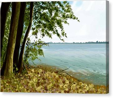 Canvas Print featuring the painting Sandusky Bay by Shawna Rowe