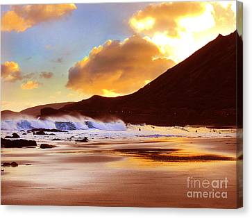 Sandy Beach Sunset Canvas Print by Kristine Merc