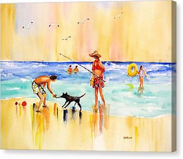 Sandy Dog At The Beach Canvas Print by Carlin Blahnik