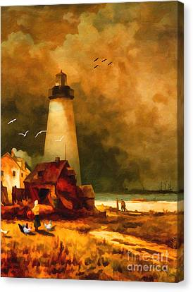 Impressionism Canvas Print - Sandy Hook Lighthouse - After Moran by Lianne Schneider