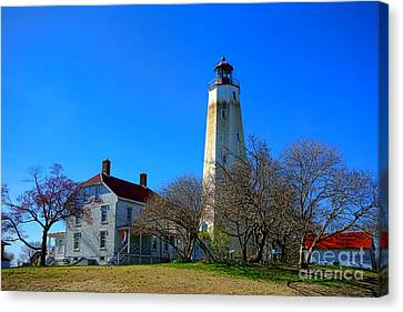 Sandy Hook Lighthouse And Keepers Quarters Canvas Print by Olivier Le Queinec
