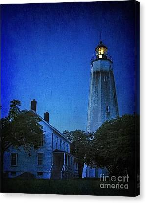 Canvas Print featuring the photograph Sandy Hook Lighthouse At Twilight by Debra Fedchin