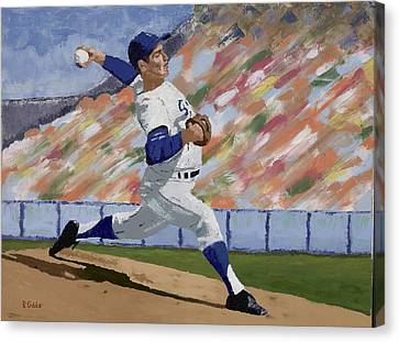 Sandy Koufax Canvas Print by Ron Gibbs