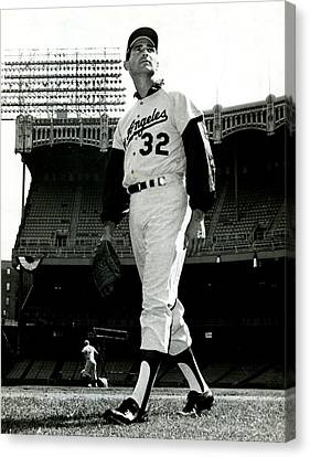Mlb Canvas Print - Sandy Koufax Vintage Baseball Poster by Gianfranco Weiss
