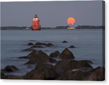 Sandy Point Lighthouse Moonrise Canvas Print