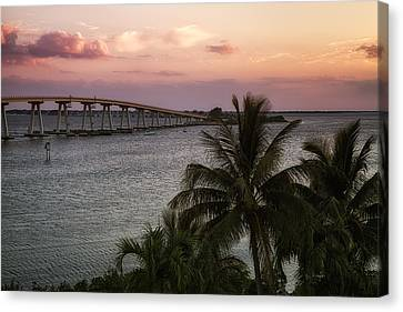 Southwest Florida Sunset Canvas Print - Sanibel Island Causeway by Kim Hojnacki