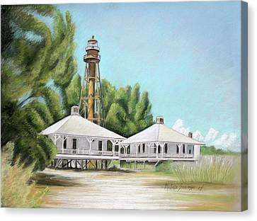 Canvas Print featuring the painting Sanibel Lighthouse by Melinda Saminski