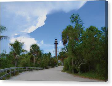 Canvas Print featuring the photograph Sanibel Lighthouse Road by Timothy Lowry