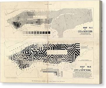 Sanitation Maps For New York City Canvas Print by Library Of Congress, Geography And Map Division