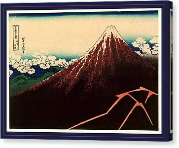 Sanka Hakuu, Shower Below The Summit. Between 1826 And 1833 Canvas Print by Hokusai, Katsushika (1760-1849), Japanese