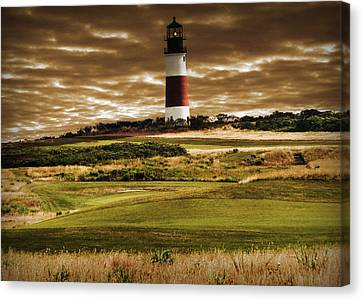 Sankaty Head Lighthouse In Nantucket Canvas Print by Mitchell R Grosky