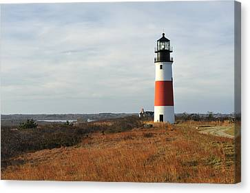 Sankaty Head Lighthouse Nantucket In Autumn Colors Canvas Print by Marianne Campolongo
