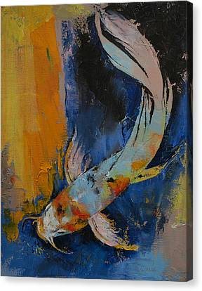 Sanshoku Koi Canvas Print by Michael Creese