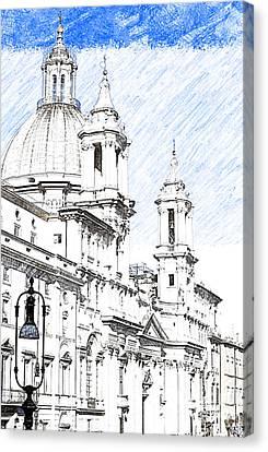 Sant Agnese In Agone Church Navona Square Rome Canvas Print by Ezeepics
