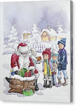 Santa And Children Canvas Print