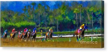 Santa Anita Races Canvas Print by Andrea Auletta