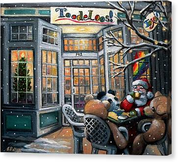 Santa At Toodeloos Toy Store Canvas Print by Eileen Patten Oliver