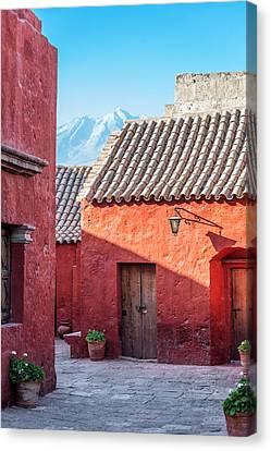 Catherine White Canvas Print - Santa Catalina Monastery And Volcano by Jess Kraft