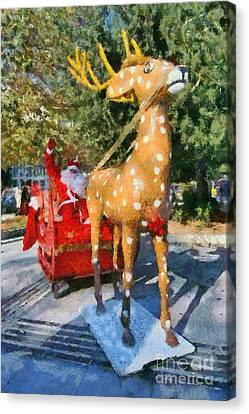 Santa Claus And Reindeer Canvas Print by George Atsametakis
