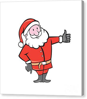 Father Christmas Canvas Print - Santa Claus Father Christmas Thumbs Up Cartoon by Aloysius Patrimonio