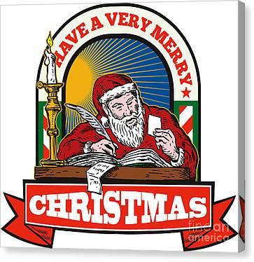 Santa Claus Father Christmas Writing Letter Canvas Print by Aloysius Patrimonio