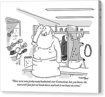 Santa Claus Is In A Locker Room Speaking Canvas Print by Mark Thompson