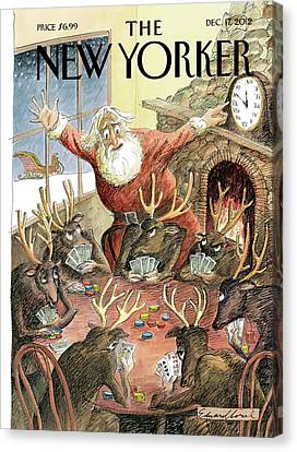 Santa Claus Rushed To Get His Reindeer Ready Canvas Print