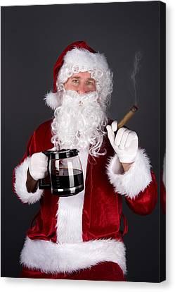 Santa Claus Smoking A Cigar And Drinking Coffee Canvas Print by Joe Belanger