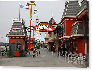 Roller Coaster Canvas Print - Santa Cruz Beach Boardwalk California 5d23628 by Wingsdomain Art and Photography