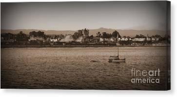 Santa Cruz Boardwalk Sepia 2 Canvas Print