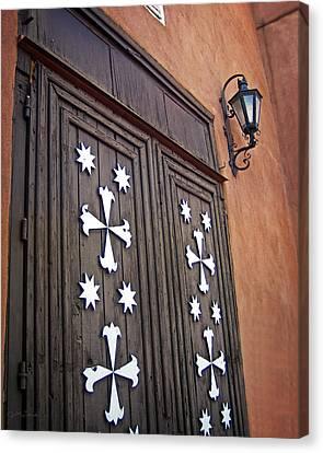 Santa Cruz De La Canada Mission Doors Canvas Print by Julie Magers Soulen