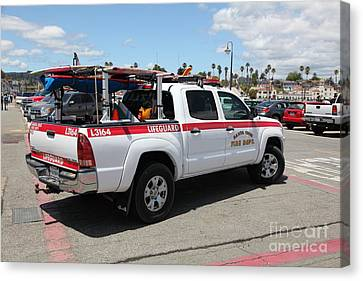 Santa Cruz Fire Department Lifeguard Truck On The Municipal Wharf At Santa Cruz Beach Boardwalk Cali Canvas Print by Wingsdomain Art and Photography