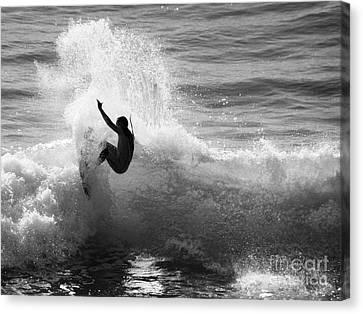 Santa Cruz Surfer Black And White Canvas Print by Paul Topp
