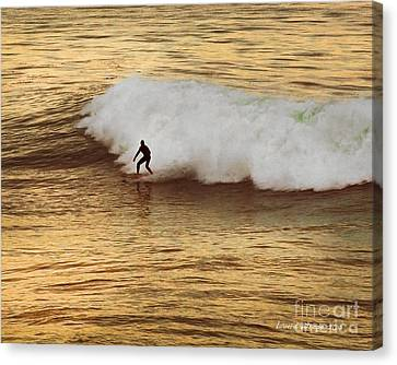 Santa Cruz Surfing At The Golden Hour Canvas Print