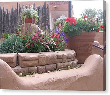 Canvas Print featuring the photograph Santa Fe Adobe Patio by Dora Sofia Caputo Photographic Art and Design