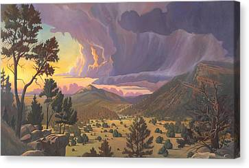 Canvas Print featuring the painting Santa Fe Baldy by Art James West