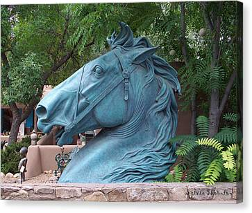 Canvas Print featuring the photograph Santa Fe Big Blue Horse by Sylvia Thornton