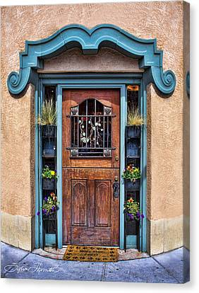 Canvas Print featuring the photograph Santa Fe Blue Door by Sylvia Thornton
