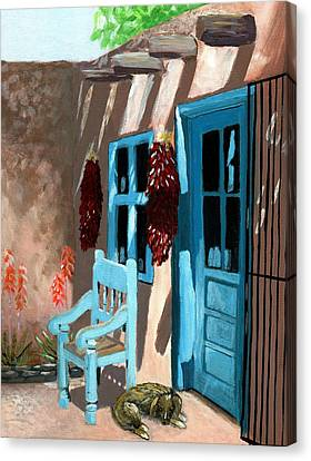 Blue And Brown Canvas Print - Santa Fe Courtyard by Karyn Robinson