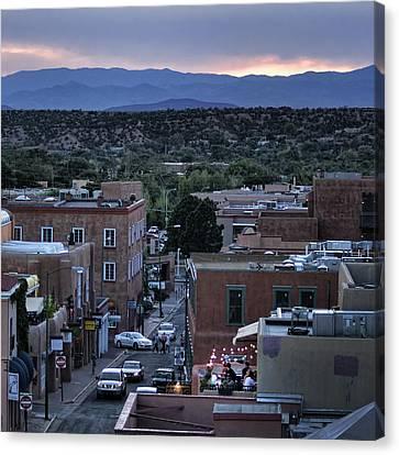 Canvas Print featuring the photograph Santa Fe Evening Rooftops by John Hansen
