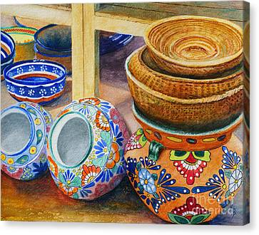 Canvas Print featuring the painting Santa Fe Hold 'em Pots And Baskets by Karen Fleschler