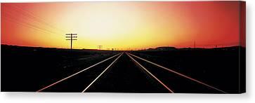 Santa Fe Railroad Tracks, Daggett Canvas Print by Panoramic Images