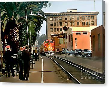 Santa Fe Train Comes Into Town Canvas Print