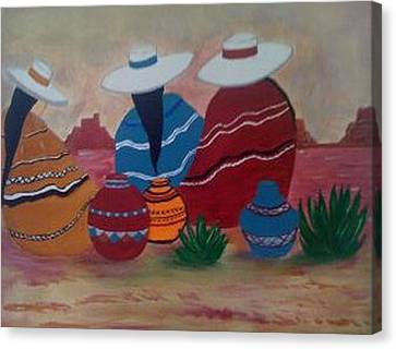 Canvas Print featuring the painting Santa Fe Women by Judi Goodwin