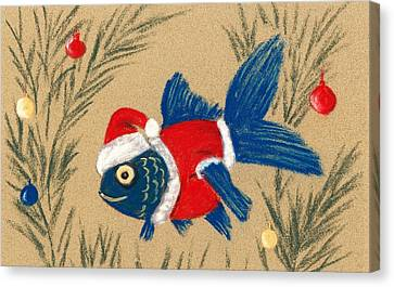Unusual Canvas Print - Santa Fish by Anastasiya Malakhova