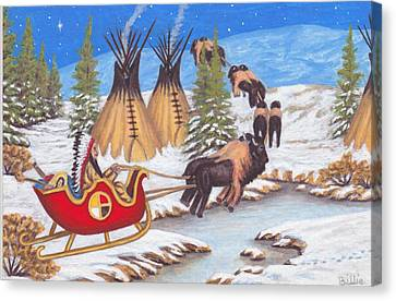 Santa For Indians Canvas Print by Billie Bowles