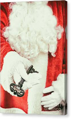 Father Christmas Canvas Print - Santa Holding Key by Amanda Elwell