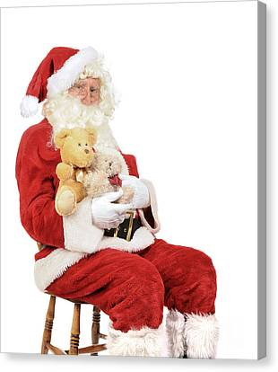 Father Christmas Canvas Print - Santa Holding Teddy Bears by Amanda Elwell