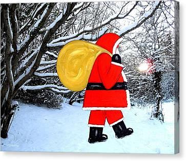 Santa In Winter Wonderland Canvas Print by Patrick J Murphy
